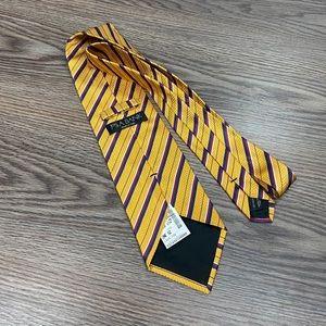 Jos A Bank NWT Gold w/ Red & Navy Stripe Tie